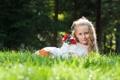 Картинка лето, трава, цветы, природа, девочка, ребёнок