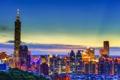 Картинка небо, облака, закат, горизонт, Тайвань, Тайбэй, Тайбэй 101