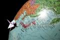 Картинка океан, мир, япония, карта, глобус, оригами, страна