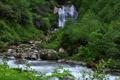 Картинка лес, река, камни, водопад