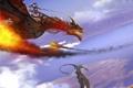 Картинка облака, полет, пламя, Дракон, воин, наездник