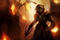 Картинка город, огонь, дракон, человек, разрушение, охотник, арбалет