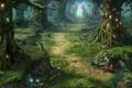 Картинка лес, дорожка, грибы, Dragon Eternity, тропинка, деревья, драконы вечности