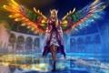 Картинка девушка, крылья, фэнтези, арт, эльфийка