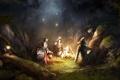 Картинка лес, ночь, воин, костер, щит, привал, Trine 2