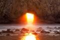 Картинка солнце, скала, океан, рассвет, Калифорния, арка, США