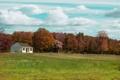 Картинка поле, небо, трава, облака, деревья, дом, парк