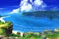 Картинка море, зелень, облака, пейзаж, берег, бухта, арт