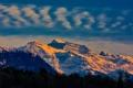 Картинка небо, облака, снег, деревья, закат, горы