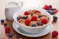 Картинка cornflakes, breakfast, завтрак, blueberries, фрукты, малина, черника