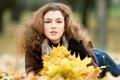 Картинка осень, взгляд, девушка, листва, кареглазая, пышные волосы