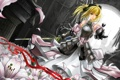 Картинка девушка, цветы, лилии, меч, лепестки, арт, лента