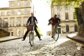 Картинка девушка, город, настроение, парень, прогулка, велосипеды