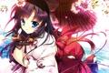 Картинка девушка, цветы, улыбка, зонт, аниме, сакура, арт
