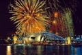 Картинка ночь, праздник, салют, сидней, фейерверк, австралия