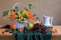 Картинка цветы, корзина, яблоко, виноград, ваза, кувшин, фрукты
