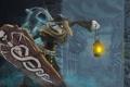 Картинка город, стены, клюв, маска, арт, фонарь, щит