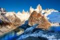 Картинка небо, снег, горы, озеро, вершина, пик