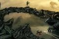 Картинка река, роботы, металл, спасательный круг, вода, труба, арт