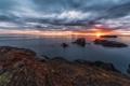 Картинка море, солнце, острова, закат, залив
