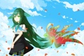 Картинка цветок, небо, девушка, облака, улыбка, аниме, лепестки