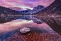 Картинка зима, лес, вода, снег, горы, озеро, отражение