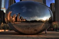 Картинка закат, монумент, Spaceship Earth, Миллениум парк, вечер, millennium park, Chicago