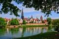 Картинка зелень, небо, облака, деревья, город, река, Германия