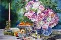 Картинка цветы, стол, книги, свеча, букет, ваза, фрукты