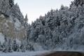Картинка зима, дорога, деревья, горы