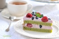 Картинка ягоды, малина, чай, торт, мята, крем, кусок