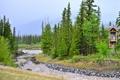 Картинка лес, пейзаж, горы, природа, дом, река