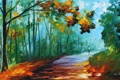 Картинка дорога, осень, листья, деревья, человек, Leonid Afremov