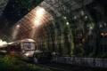 Картинка живопись, Aquin station, поезд, зелень, свет, лучи