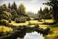 Картинка облака, трава, небо, лето, озеро, листья, живопись