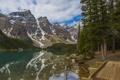 Картинка лес, вода, горы, озеро, отражение, Канада, Moraine Lake