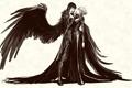 Картинка взгляд, лицо, фон, фантастика, девушки, рисунок, крылья
