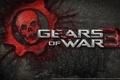 Картинка кровь, череп, шестеренка, gears of war 3