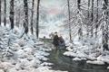 Картинка зима, лес, снег, лёд, живопись, ёлки, коньки