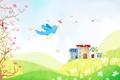 Картинка детские обои, холмы, птица, лепестки, ромашки, цветок, деревья