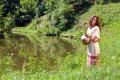 Картинка девушка, озеро, кувшин
