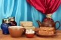 Картинка чай, сладости, занавеска, заварник, пастила, халва