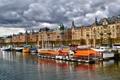 Картинка небо, облака, лодка, дома, канал