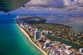 Картинка пляж, город, самолет, океан, америка, майами