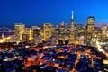Картинка огни, здания, Калифорния, Сан-Франциско, ночной город, небоскрёбы, California