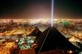 Картинка небо, свет, город, пирамида, улицы, Las Vegas