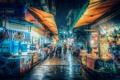 Картинка зонты, Тайвань, ночь, центр города, рынок, огни, дождь