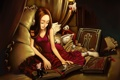 Картинка животные, кот, девушка, кровать, крылья, подушки, арт