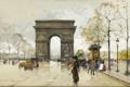 Картинка город, люди, улица, картина, арка, Eugene Galien-Laloue, Place de Chatale