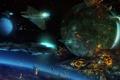 Картинка огонь, космос, планета, корабли, взрывы